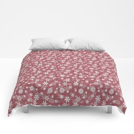 Christmas Rose Velvet Snow Flakes Comforters