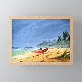 Sudden Storm at Maunabo Beach Puerto Rico Framed Mini Art Print