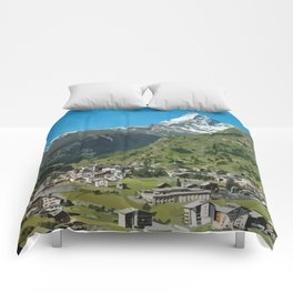 Retro Swiss travel Zermatt and Mount Matterhorn  Comforters