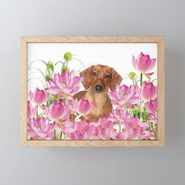 Dog in Field of Lotos Flower Framed Mini Art Print