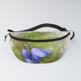 Pretty bluebells on white Fanny Pack