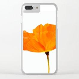 One And Only - Orange Poppy White Background #decor #society6#buyart Clear iPhone Case