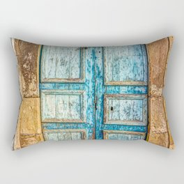 Textured azure door in Medina, Tunisia. Rectangular Pillow