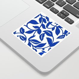 PALM LEAF VINE SWIRL BLUE AND WHITE PATTERN Sticker