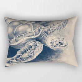 Sea Turtle Watercolor Ink Sepia Brush Marine Rectangular Pillow