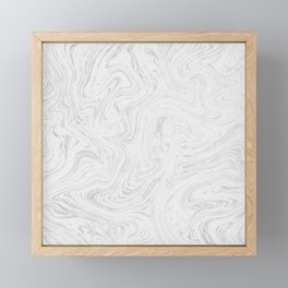 Elegant white silver glitter abstract marble Framed Mini Art Print