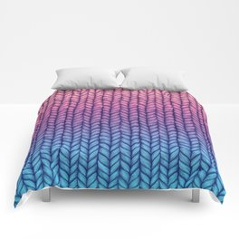 Chunky Knit Pattern in Pink, Blue & Purple Comforters