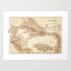 Map of West Indies 1854 Art Print