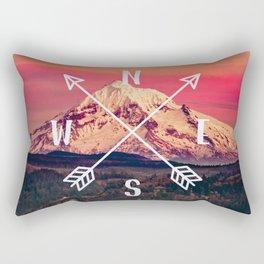 Snowy Mountain Compass Rectangular Pillow