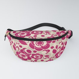 Red beige floral pattern Fanny Pack