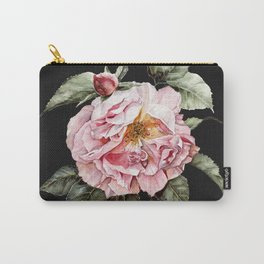 Wilting Pink Rose Watercolor on Charcoal Black Carry-All Pouch