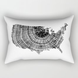United States Print, Tree ring print, Tree rings, US map, Wood grain Rectangular Pillow