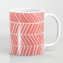 Coral Herringbone Coffee Mug