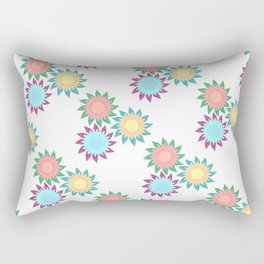 Watercolor Stroke Flower Pattern Rectangular Pillow