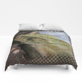 Wild Chameleon In Green Shades Comforters