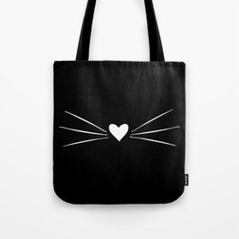 Cat Heart Nose & Whiskers White on Black Tote Bag