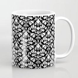 Flourish Damask Big Ptn White on Black Coffee Mug