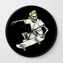 Vintage Skateboarding Skeleton Wall Clock