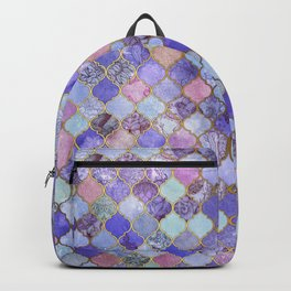 Royal Purple, Mauve & Indigo Decorative Moroccan Tile Pattern Backpack