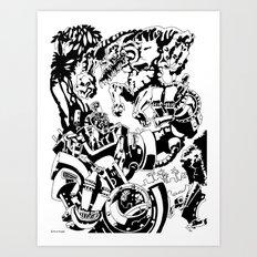 Doktor Steampug- Black and White Art Print