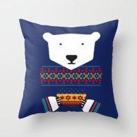 polar bear Throw Pillows featuring Polar Bear by Marco Recuero