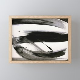Brushstroke 9: a bold, minimal, black and white abstract piece Framed Mini Art Print