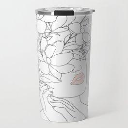 Minimal Line Art Woman with Magnolia Travel Mug