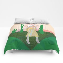 Wild-Eyed & Wandering, Woman and Cactus Contemporary Illustration Comforters