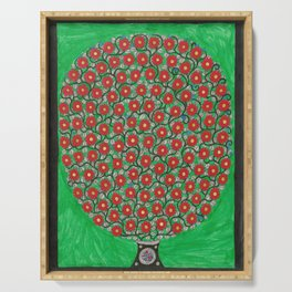 Red Flowers Serving Tray