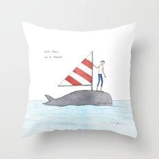 set sail on a whale Throw Pillow
