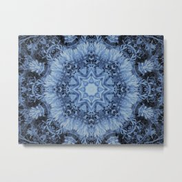 Soft Blue and White Dahlia Kaleidoscope Metal Print