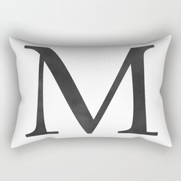 Letter M Initial Monogram Black and White Rectangular Pillow