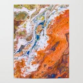Orange Crush Acrylic Pour Painting Poster