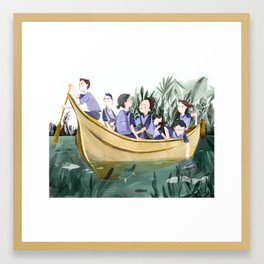 Yellow School Boat Framed Art Print