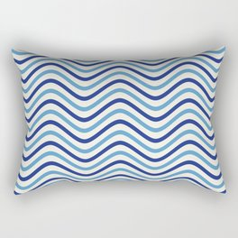 The Wave:  Blue + Turquoise Rectangular Pillow