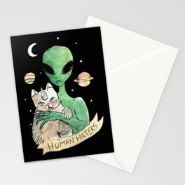 aliens and cats are human haters Stationery Cards
