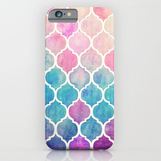 Rainbow Pastel Watercolor Moroccan Pattern iPhone & iPod Case