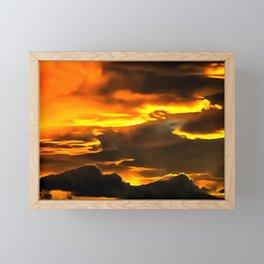 cloudy burning sky reacstd Framed Mini Art Print