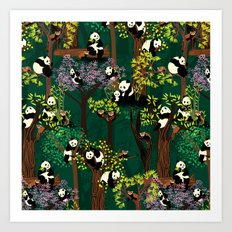 Both Species of Panda - Green Art Print