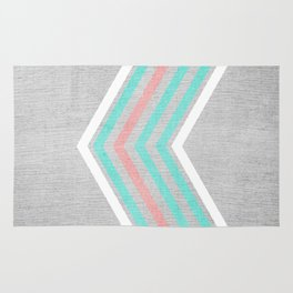 Teal, Pink and White Chevron on Silver Grey Wood Rug