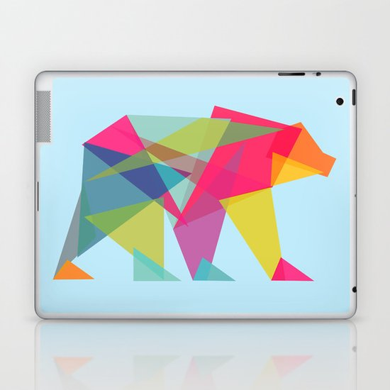 Fractal Bear - neon colorways Laptop & iPad Skin