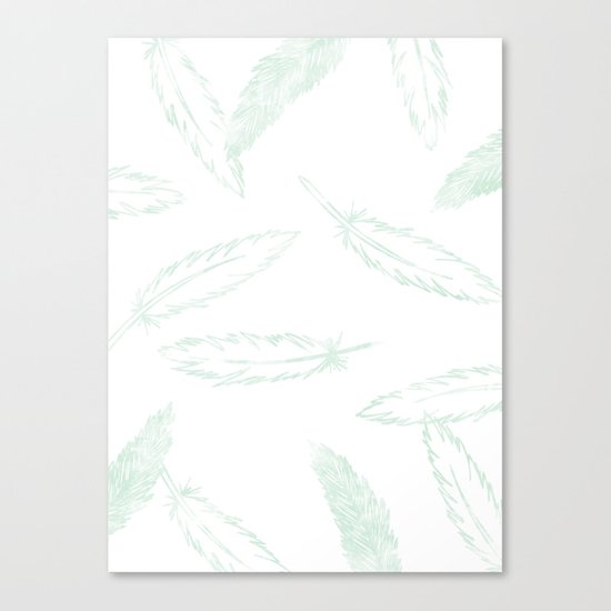 Painted Feathers - in Mint Canvas Print