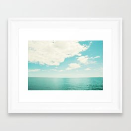 Turquoise Ocean Landscape Art, Aqua Blue Seascape Photo, Teal Sea Horizon Photography Framed Art Print