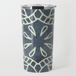 Mandala Vintage Ivory Blue Travel Mug