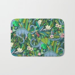 Improbable Botanical with Dinosaurs - dark green Bath Mat