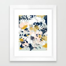 Noel - navy mint gold painted abstract brushstrokes minimal modern canvas art painting Framed Art Print