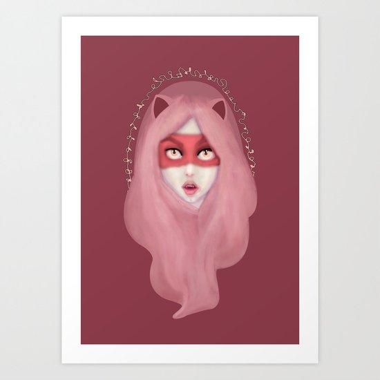 kitty.pink.power Art Print