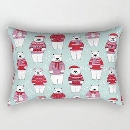 Polar Bear character cute christmas sweater polar bears nature illustration pattern Rectangular Pillow