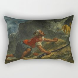 "Eugène Delacroix ""Arab Stalking a Lion"" Rectangular Pillow"