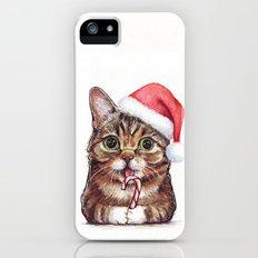 Cat in Santa Hat Whimsical Christmas Animals Slim Case iPhone (5, 5s)